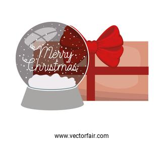 crystal ball with gift boxe isolated icon
