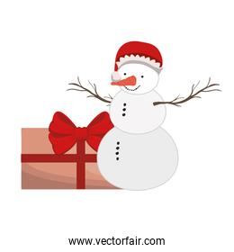 snowman with gift box isolated icon