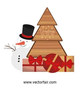 snowman with christmas tree and gift box
