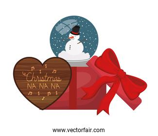 crystal ball with snowman and gift box