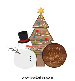 christmas tree with snow man isolated icon