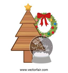 christmas tree with crystal ball isolated icon