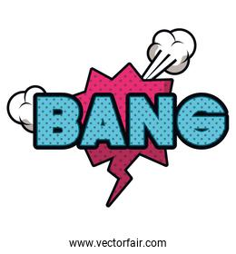 bang comic words in speech bubble isolated icon