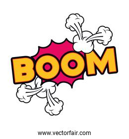 boom comic words in speech bubble isolated icon