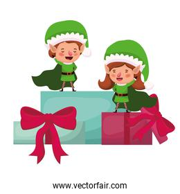 couple of elves with gifts boxs avatar character
