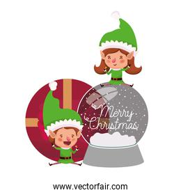 couple of elves with gift box and crystal ball