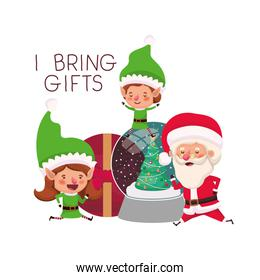 couple of elves and santa claus with gifts boxs