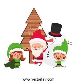 couple of elves and santa claus with snowman