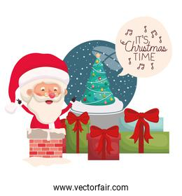 santa claus with crystal ball and gift boxes
