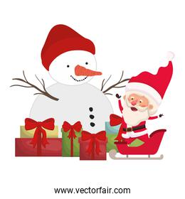 santa claus with snowman and gift boxes