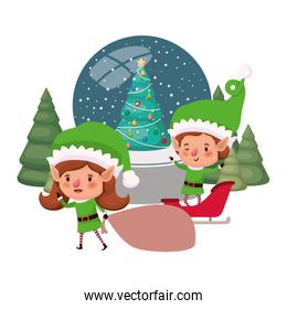 couple of elves with crystal ball