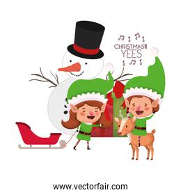 couple of elves with gift box and snowman