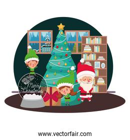 couple of elves and santa claus with christmas tree
