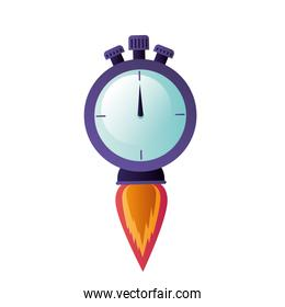 chronometer with rocket isolated icon