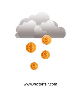 cloud with rain of coins isolated icon