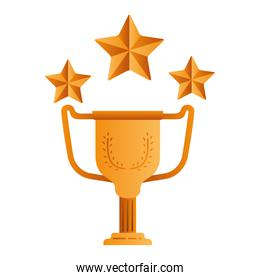 trophy with stars isolated icon