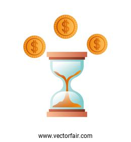 hourglass with coins isolated icon