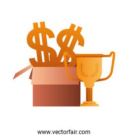 cardboard box with symbol of dollar and trophy