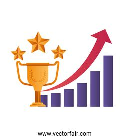 bar chart with trophies isolated icon