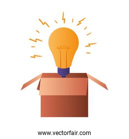 cardboard box with light bulb isolated icon