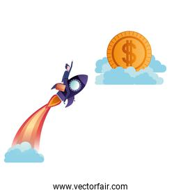 businesswoman on rocket and coin avatar character