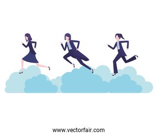 businesswomen with clouds avatar character