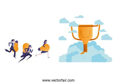businesswomen in the clouds with trophy avatar character