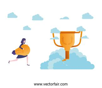 businesswoman in the clouds with trophy  character