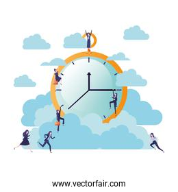 businesswomen with clock and clouds avatar character