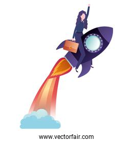 businesswoman with rocket avatar character