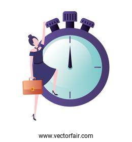 businesswoman with clock avatar character