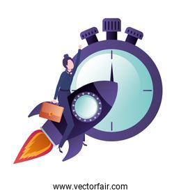 faceless businesswoman on rocket and clock avatar character