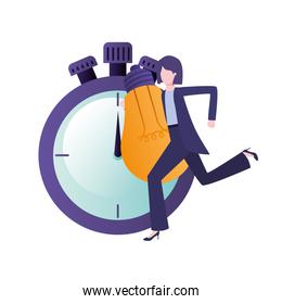 businesswoman with clock and light bulb character