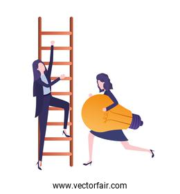 businesswomen with stair and light bulb avatar character