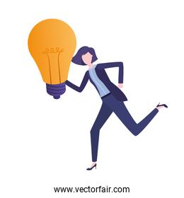 Businesswoman with lightbulb avatar character