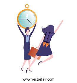 businesswomen with rocket and clock avatar character