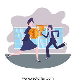 businesswomen with trophy and coin in living room