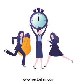 businesswomen with clock and light bulb character
