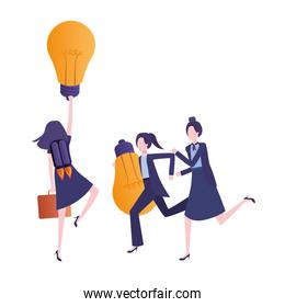 businesswomen with rocket and light bulb character