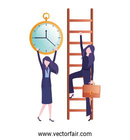 businesswomen with stair and clock avatar character