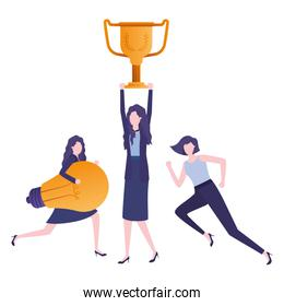businesswomen with trophy and light bulb character