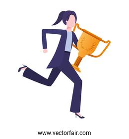businesswoman with trophy avatar character