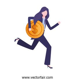 businesswoman with dollar sign avatar character