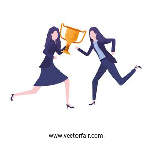 businesswomen with trophy avatar character