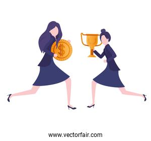 businesswomen with trophy and coin character