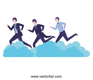 businessmen with clouds avatar character