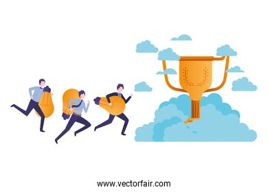businessmen in the clouds with trophy avatar character