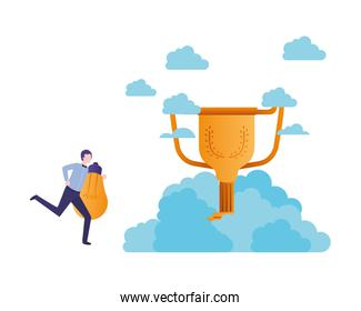 businessman in the clouds with trophy   character