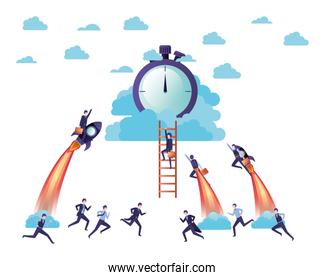 businessmen on rocket and clock avatar character