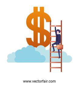 businessman with dollar sign and stair character